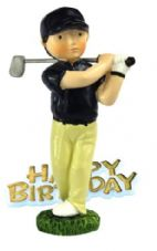Golfer Resin Topper with Happy Birthday Motto